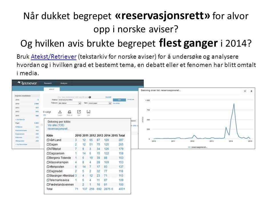 Når dukket begrepet «reservasjonsrett» for alvor opp i norske aviser.