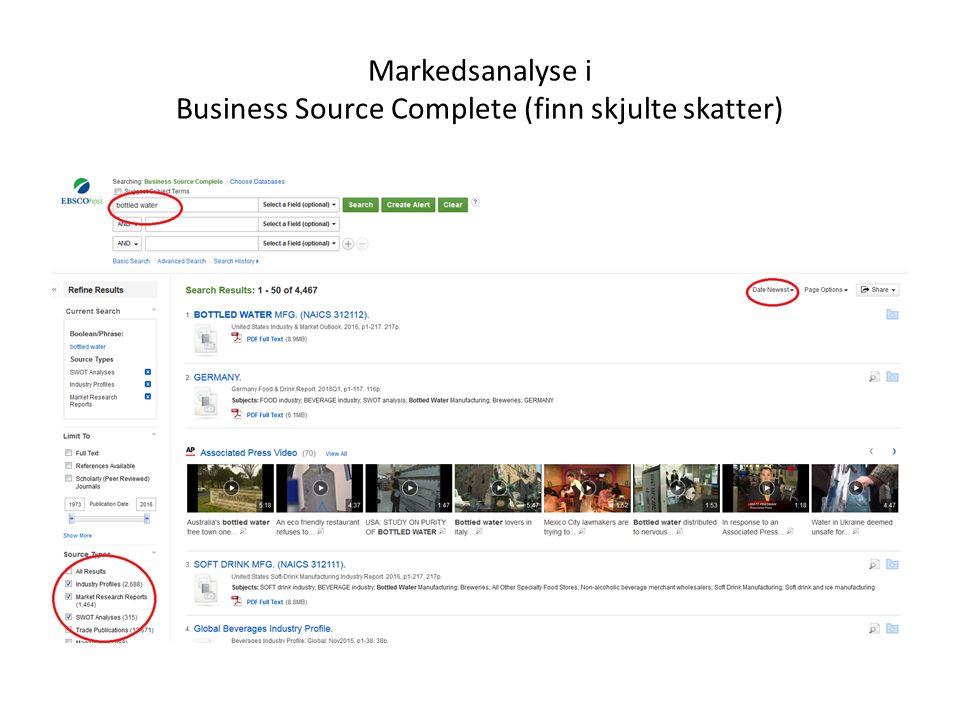Markedsanalyse i Business Source Complete (finn skjulte skatter)