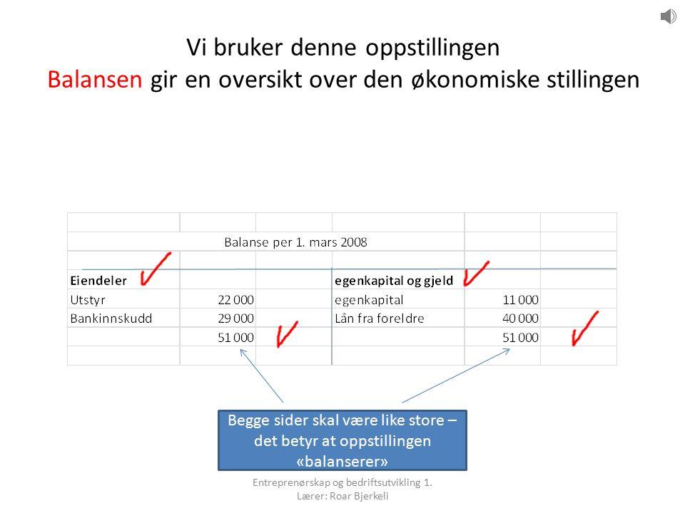 9.2 Den økonomiske stillingen (Balansen) Balanselikning: – Eiendeler = egenkapital og gjeld En endring på den ene siden – må alltid føre til en endring på den andre siden Entreprenørskap og bedriftsutvikling 1.