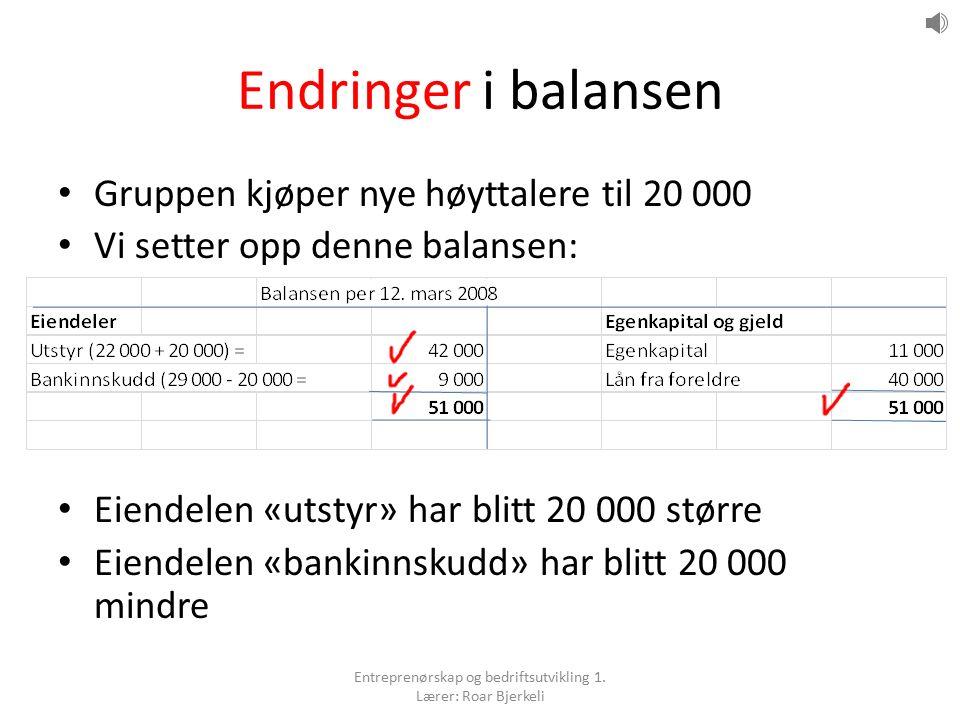 Endringer i balansen Gruppen kjøper nye høyttalere til 20 000 Vi setter opp denne balansen: Eiendelen «utstyr» har blitt 20 000 større Eiendelen «bankinnskudd» har blitt 20 000 mindre Entreprenørskap og bedriftsutvikling 1.