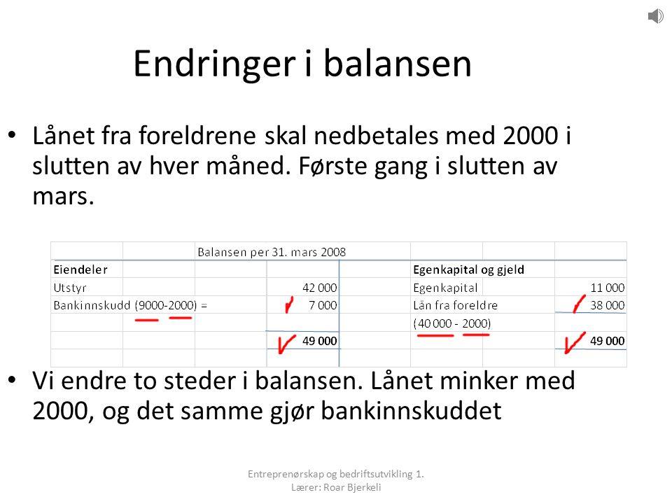 Endringer i balansen Lånet fra foreldrene skal nedbetales med 2000 i slutten av hver måned.