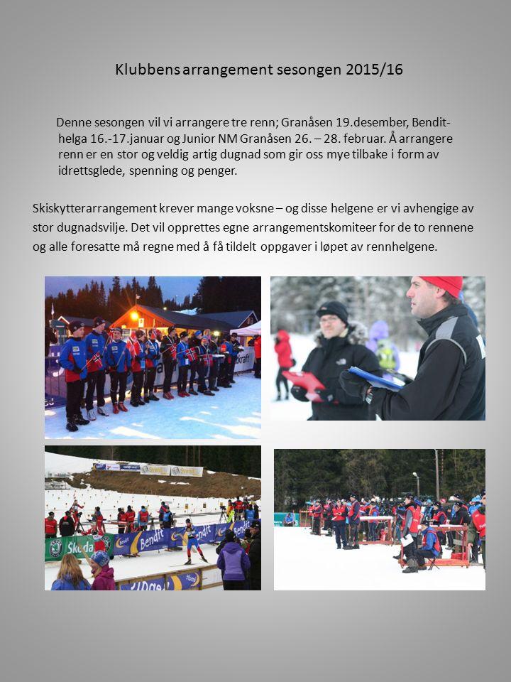 Klubbens arrangement sesongen 2015/16 Denne sesongen vil vi arrangere tre renn; Granåsen 19.desember, Bendit- helga 16.-17.januar og Junior NM Granåse