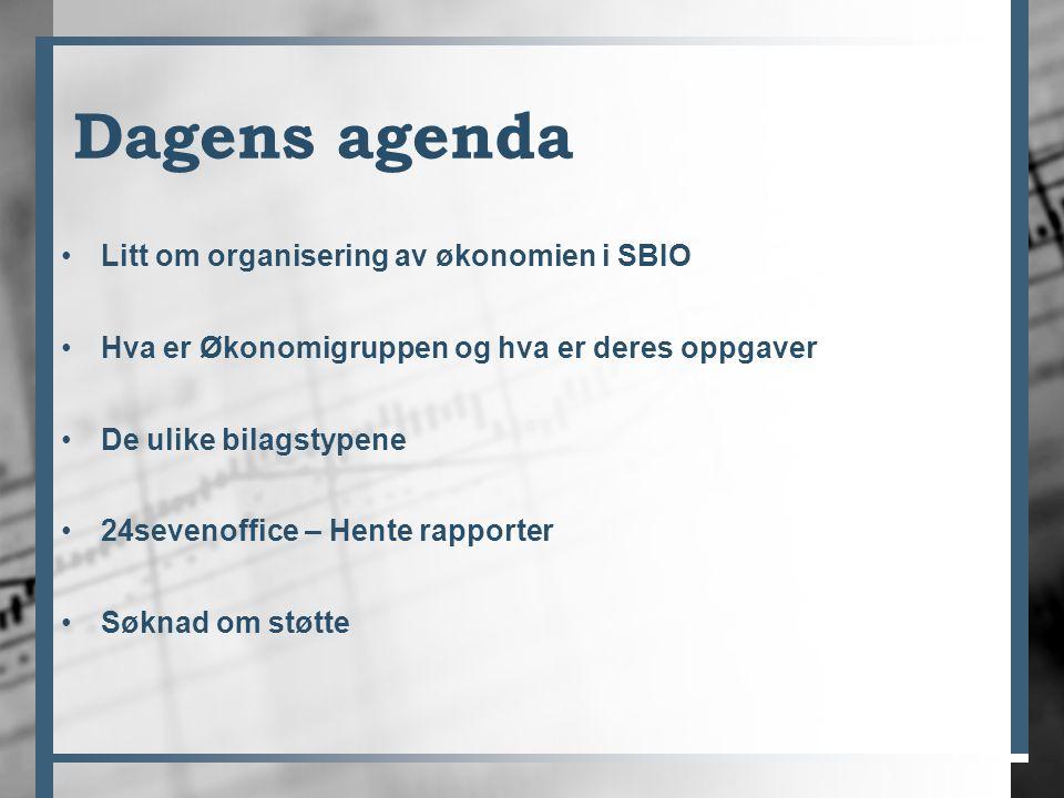 Dagens agenda Litt om organisering av økonomien i SBIO Hva er Økonomigruppen og hva er deres oppgaver De ulike bilagstypene 24sevenoffice – Hente rapporter Søknad om støtte