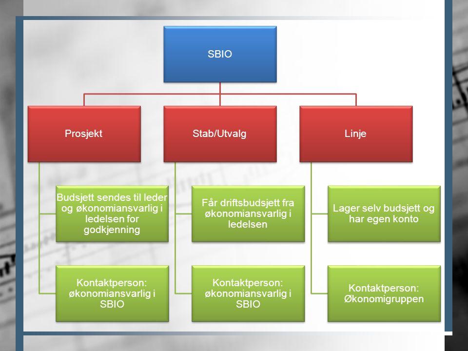 SBIO Prosjekt Budsjett sendes til leder og økonomiansvarlig i ledelsen for godkjenning Kontaktperson: økonomiansvarlig i SBIO Stab/Utvalg Får driftsbu