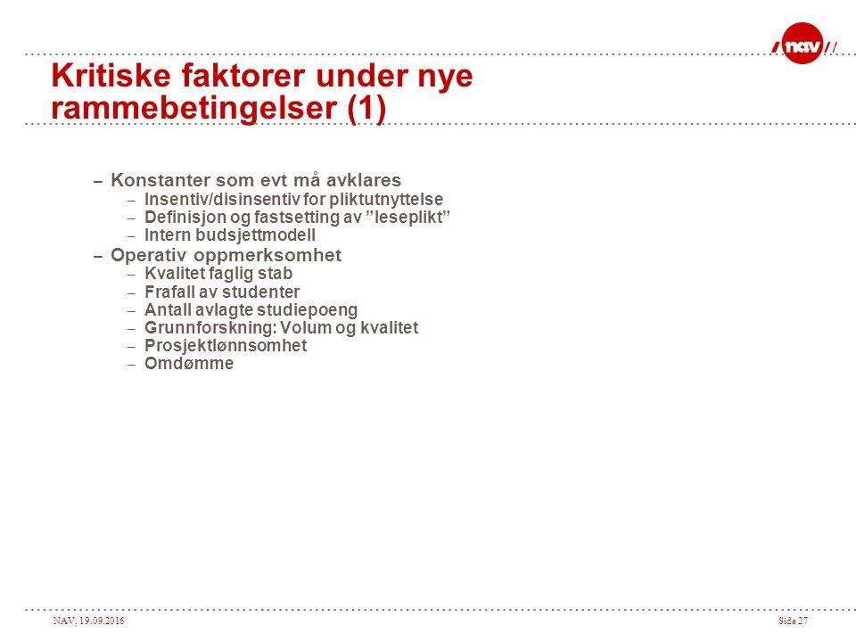 NAV, 19.09.2016Side 26 Økonomistyringen  Nytt strategisk fokus: Økonomisk handlefrihet  Vår regnskapsoppfølging viktig, men gir ikke nok operativ informasjon