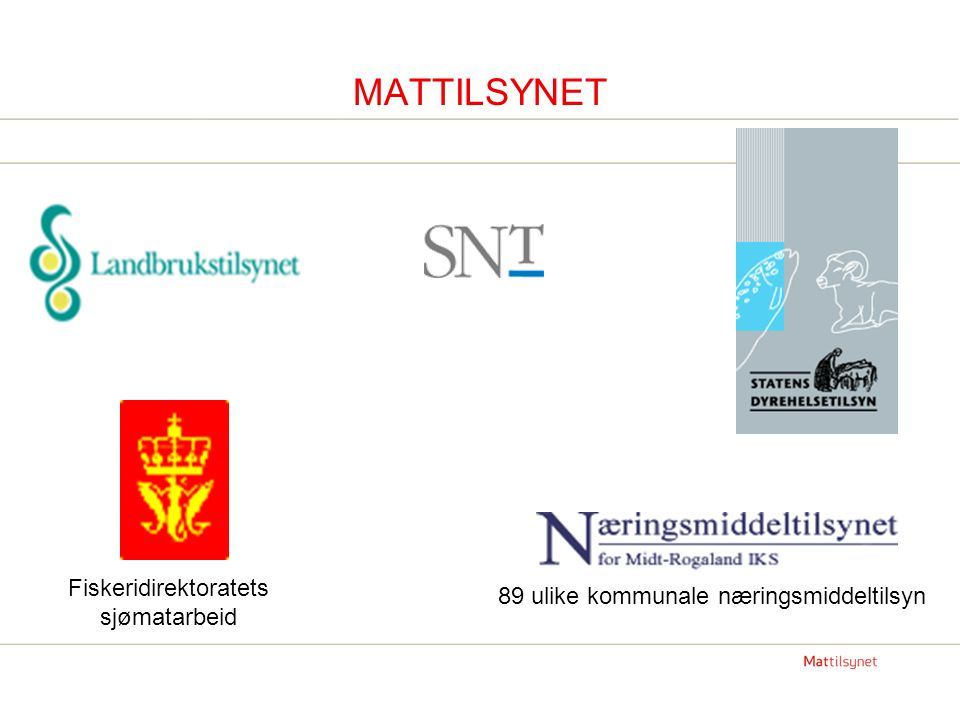 Fiskeridirektoratets sjømatarbeid MATTILSYNET 89 ulike kommunale næringsmiddeltilsyn