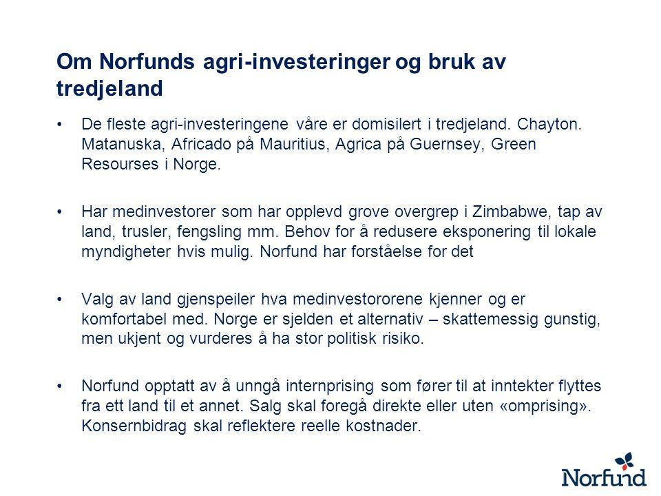 Om Norfunds agri-investeringer og bruk av tredjeland De fleste agri-investeringene våre er domisilert i tredjeland. Chayton. Matanuska, Africado på Ma