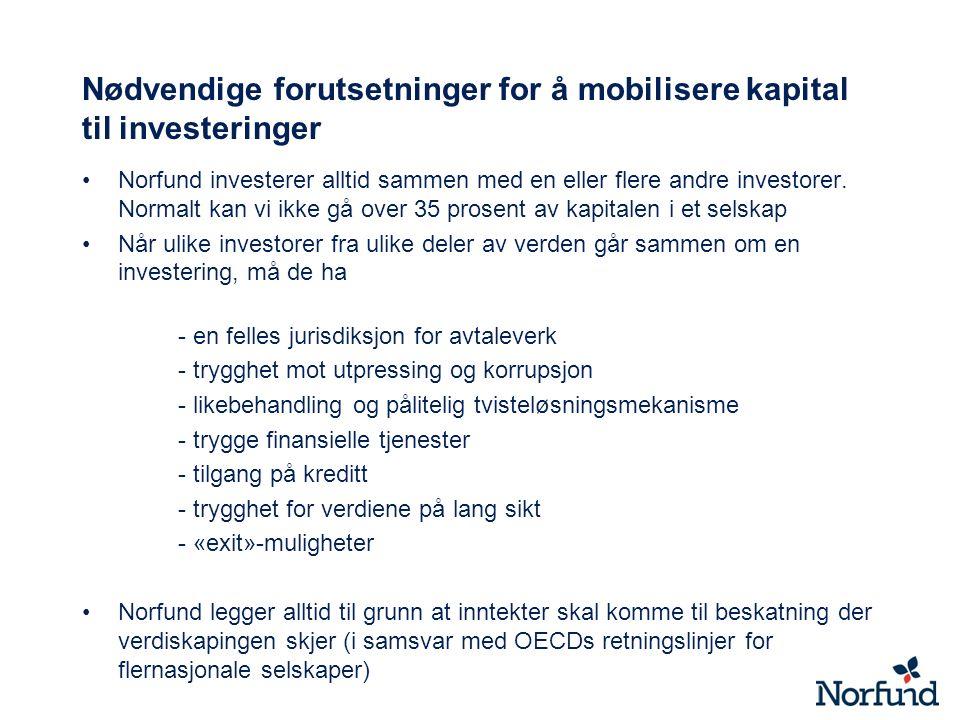 Nødvendige forutsetninger for å mobilisere kapital til investeringer Norfund investerer alltid sammen med en eller flere andre investorer. Normalt kan