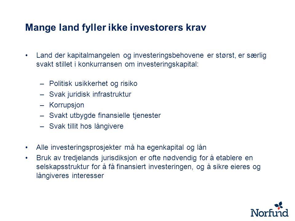 Mange land fyller ikke investorers krav Land der kapitalmangelen og investeringsbehovene er størst, er særlig svakt stillet i konkurransen om invester