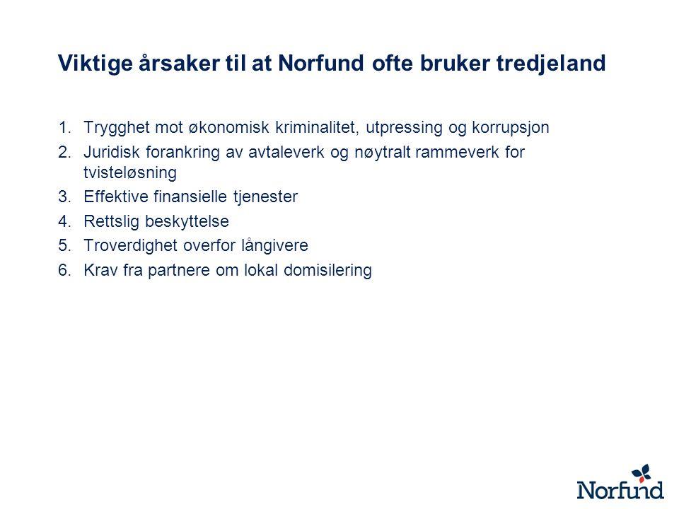 Viktige årsaker til at Norfund ofte bruker tredjeland 1.Trygghet mot økonomisk kriminalitet, utpressing og korrupsjon 2.Juridisk forankring av avtaleverk og nøytralt rammeverk for tvisteløsning 3.Effektive finansielle tjenester 4.Rettslig beskyttelse 5.Troverdighet overfor långivere 6.Krav fra partnere om lokal domisilering