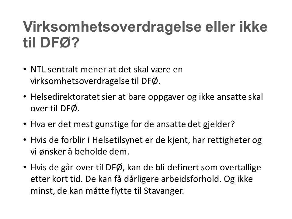 Virksomhetsoverdragelse eller ikke til DFØ.