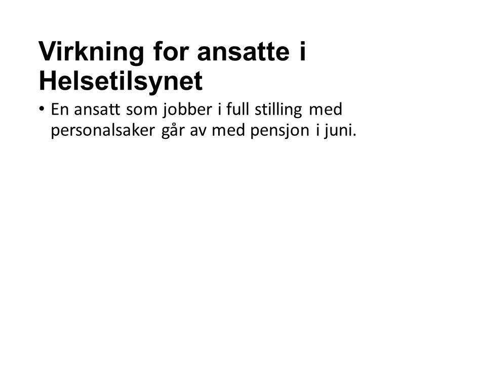 Virkning for ansatte i Helsetilsynet En ansatt som jobber i full stilling med personalsaker går av med pensjon i juni.