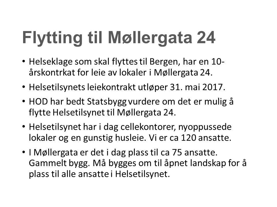 Flytting til Møllergata 24 Helseklage som skal flyttes til Bergen, har en 10- årskontrkat for leie av lokaler i Møllergata 24. Helsetilsynets leiekont