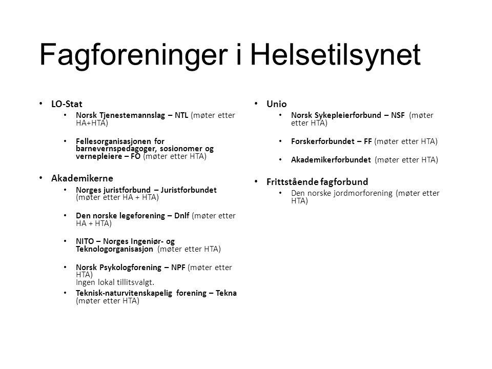 Fagforeninger i Helsetilsynet LO-Stat Norsk Tjenestemannslag – NTL (møter etter HA+HTA) Fellesorganisasjonen for barnevernspedagoger, sosionomer og vernepleiere – FO (møter etter HTA) Akademikerne Norges juristforbund – Juristforbundet (møter etter HA + HTA) Den norske legeforening – Dnlf (møter etter HA + HTA) NITO – Norges Ingeniør- og Teknologorganisasjon (møter etter HTA) Norsk Psykologforening – NPF (møter etter HTA) Ingen lokal tillitsvalgt.