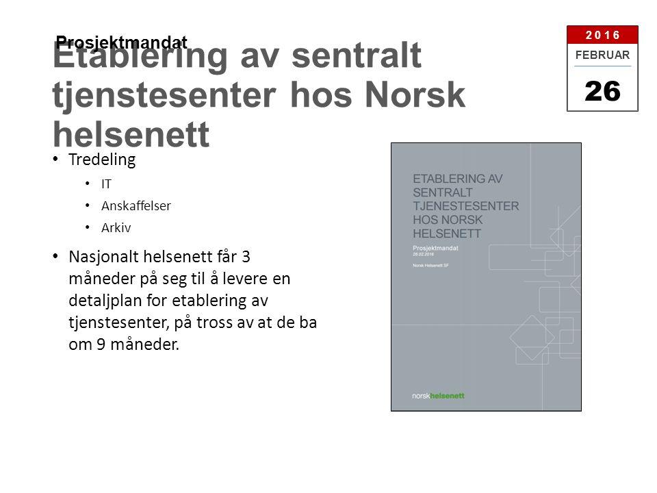 Etablering av sentralt tjenstesenter hos Norsk helsenett Tredeling IT Anskaffelser Arkiv Nasjonalt helsenett får 3 måneder på seg til å levere en detaljplan for etablering av tjenstesenter, på tross av at de ba om 9 måneder.