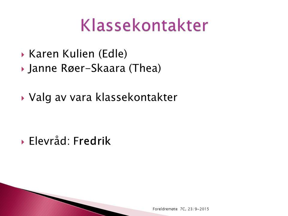  Karen Kulien (Edle)  Janne Røer-Skaara (Thea)  Valg av vara klassekontakter  Elevråd: Fredrik Foreldremøte 7C, 23/9-2015