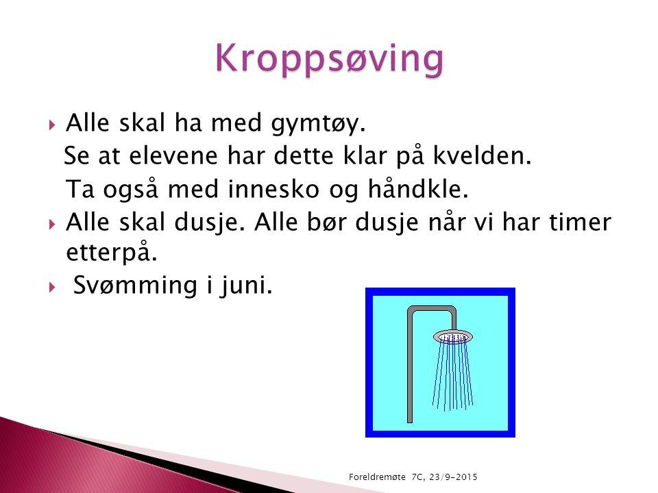  Fotodel, kniv og slire-laging, tekstil, kunsthistorie. Foreldremøte 7C, 23/9-2015