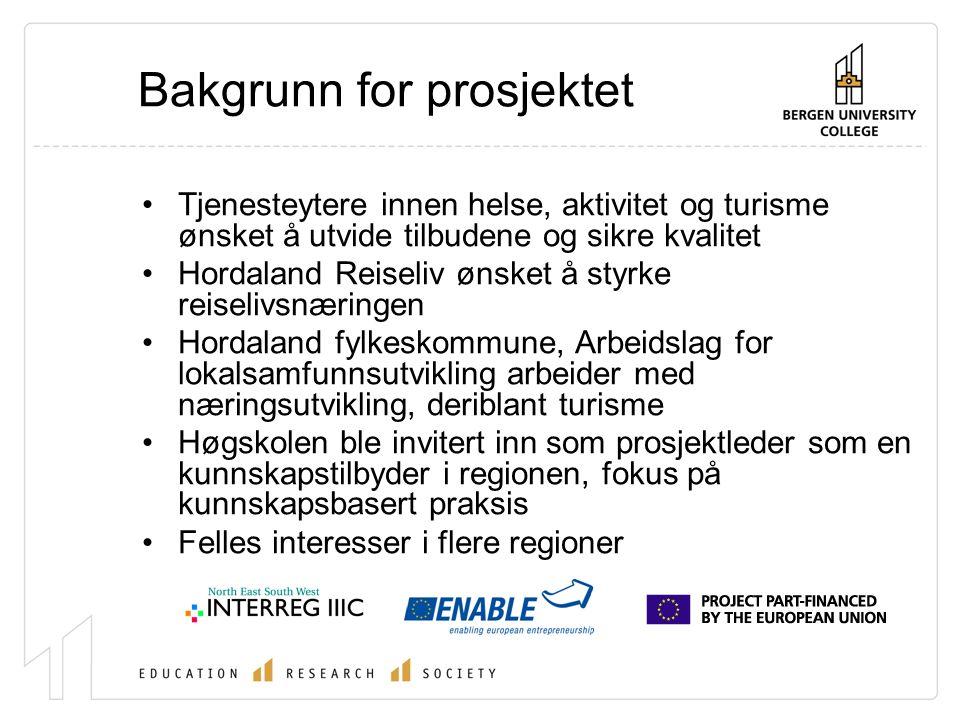 Søknad om midler til Interreg III- ENABLE Etablere et helse-turisme-næring nettverk med partnere fra Thüringen and Vest-Norge Identifisere og imøtekomme behov og interesser hos små og mellomstore bedrifter, relevante lokale og regionale tjenesteytere og forskning og utvikling Gjennom tripple helix nettverks tilnærming styrke små og mellomstore bedrifters konkurranseevne Styrke partnere og deltakeres evne til å anvende forskningsbasert kunnskap og metoder for produktutvikling