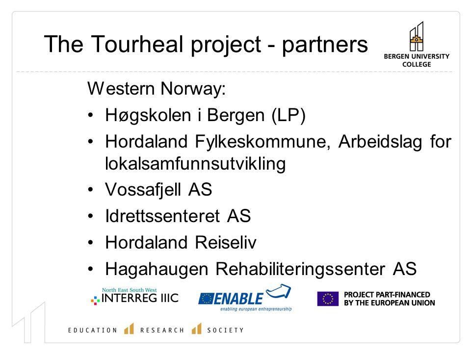 The Tourheal project - partners Western Norway: Høgskolen i Bergen (LP) Hordaland Fylkeskommune, Arbeidslag for lokalsamfunnsutvikling Vossafjell AS Idrettssenteret AS Hordaland Reiseliv Hagahaugen Rehabiliteringssenter AS