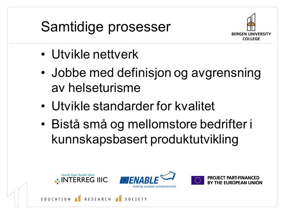 Samtidige prosesser Utvikle nettverk Jobbe med definisjon og avgrensning av helseturisme Utvikle standarder for kvalitet Bistå små og mellomstore bedrifter i kunnskapsbasert produktutvikling