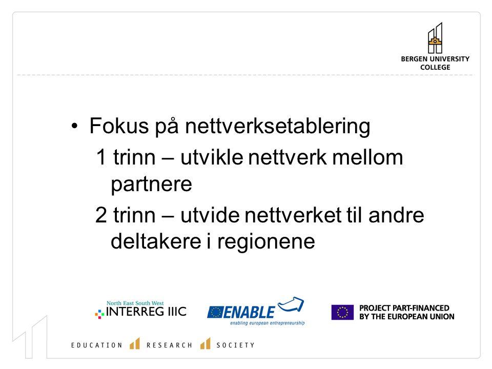 Fokus på nettverksetablering 1 trinn – utvikle nettverk mellom partnere 2 trinn – utvide nettverket til andre deltakere i regionene