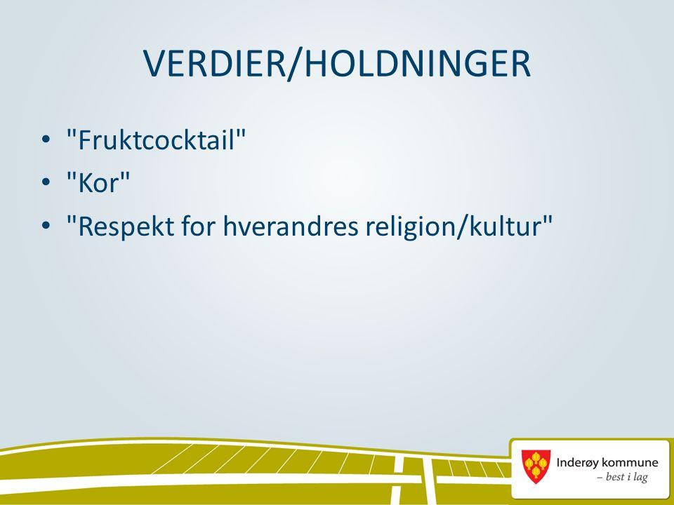 Fruktcocktail Kor Respekt for hverandres religion/kultur VERDIER/HOLDNINGER