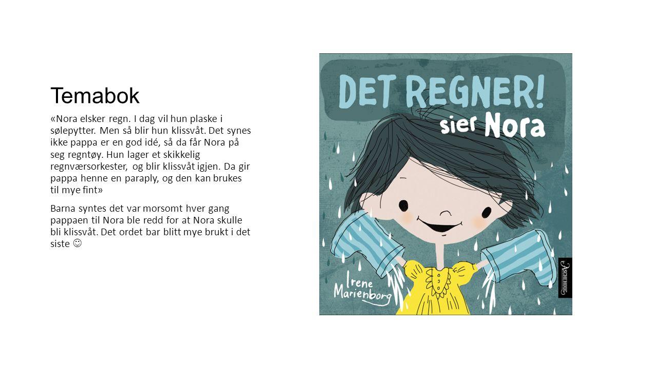 Temabok «Nora elsker regn. I dag vil hun plaske i sølepytter.