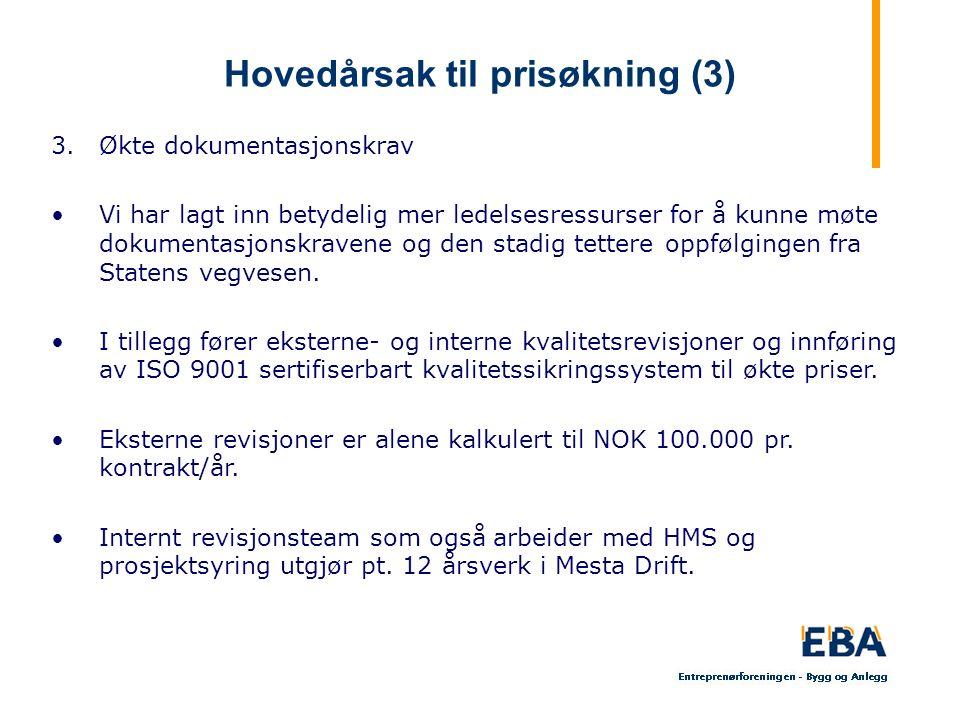Hovedårsak til prisøkning (3) 3.Økte dokumentasjonskrav Vi har lagt inn betydelig mer ledelsesressurser for å kunne møte dokumentasjonskravene og den stadig tettere oppfølgingen fra Statens vegvesen.