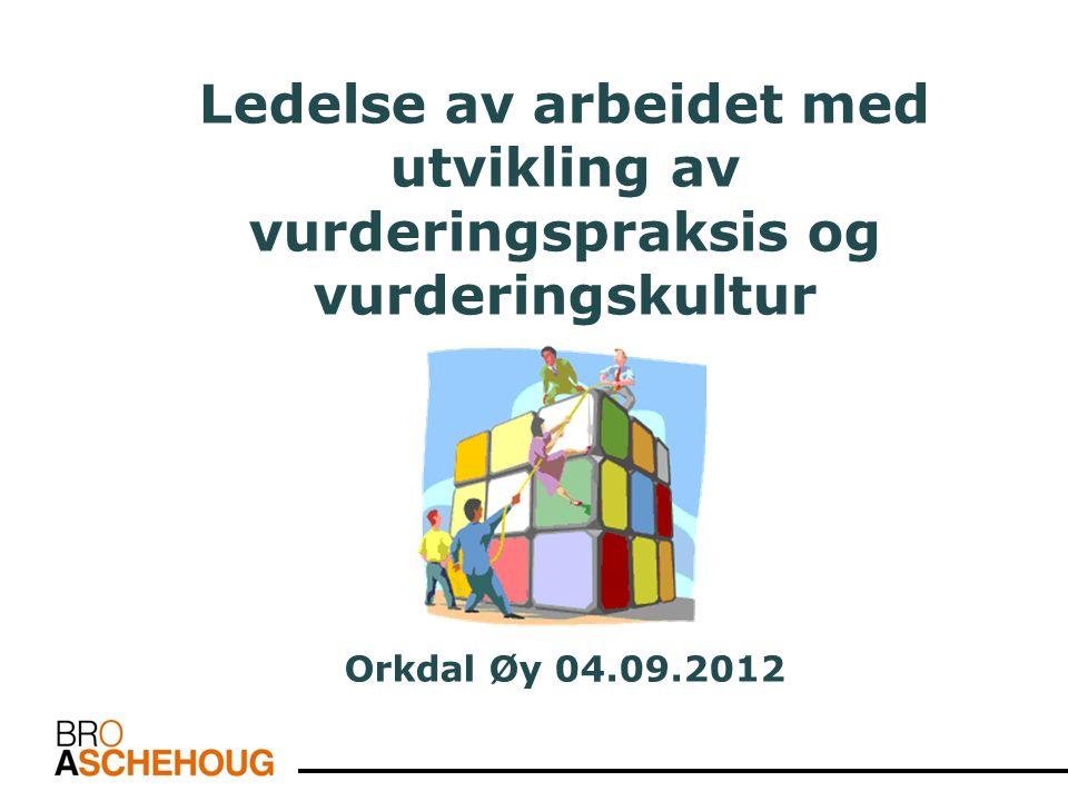 Ledelse av arbeidet med utvikling av vurderingspraksis og vurderingskultur Orkdal Øy 04.09.2012