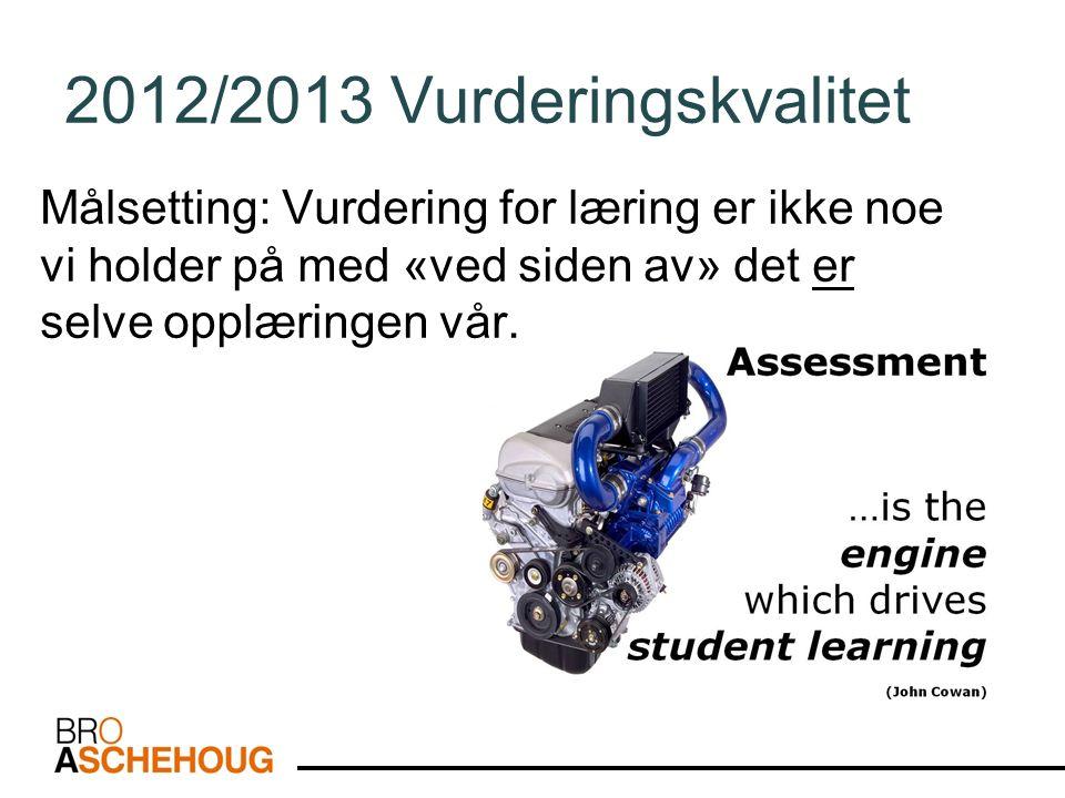 2012/2013 Vurderingskvalitet Målsetting: Vurdering for læring er ikke noe vi holder på med «ved siden av» det er selve opplæringen vår.