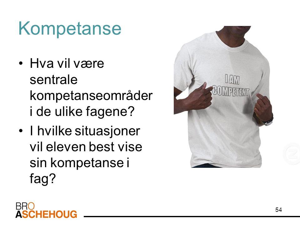 Kompetanse Hva vil være sentrale kompetanseområder i de ulike fagene.