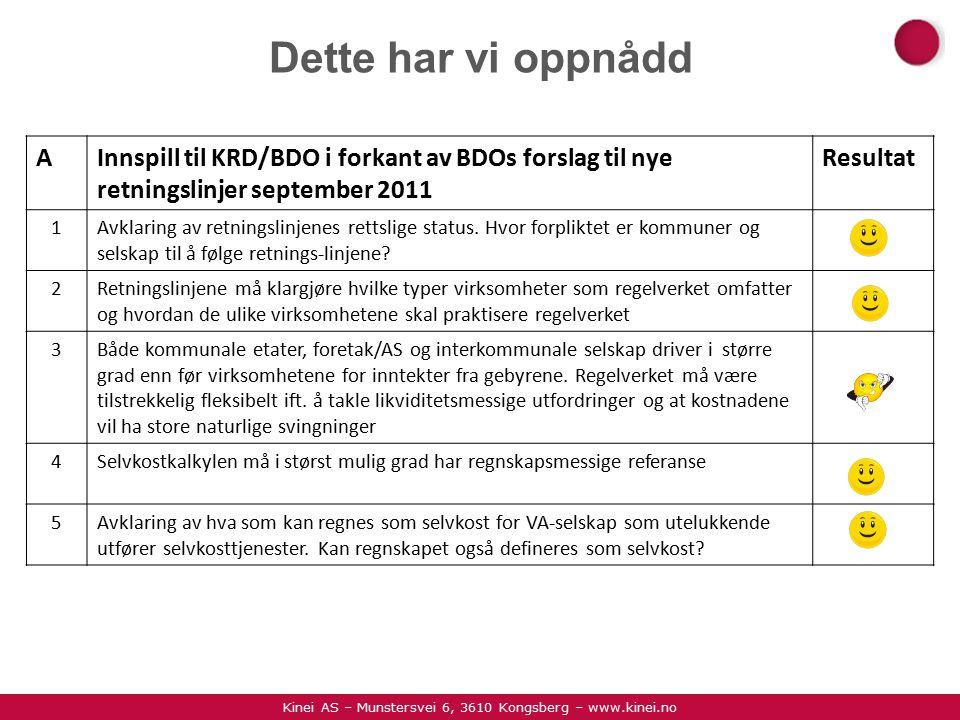 Kinei AS – Munstersvei 6, 3610 Kongsberg – www.kinei.no Dette har vi oppnådd AInnspill til KRD/BDO i forkant av BDOs forslag til nye retningslinjer september 2011 Resultat 1Avklaring av retningslinjenes rettslige status.