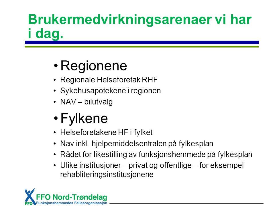 Brukermedvirkningsarenaer vi har i dag. Regionene Regionale Helseforetak RHF Sykehusapotekene i regionen NAV – bilutvalg Fylkene Helseforetakene HF i