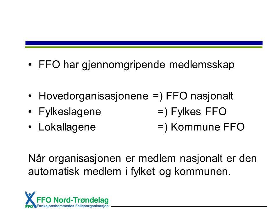 FFO har gjennomgripende medlemsskap Hovedorganisasjonene =) FFO nasjonalt Fylkeslagene =) Fylkes FFO Lokallagene =) Kommune FFO Når organisasjonen er