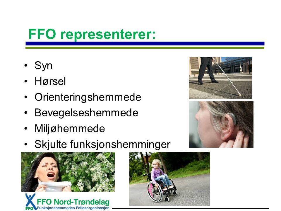 Syn Hørsel Orienteringshemmede Bevegelseshemmede Miljøhemmede Skjulte funksjonshemminger FFO representerer: