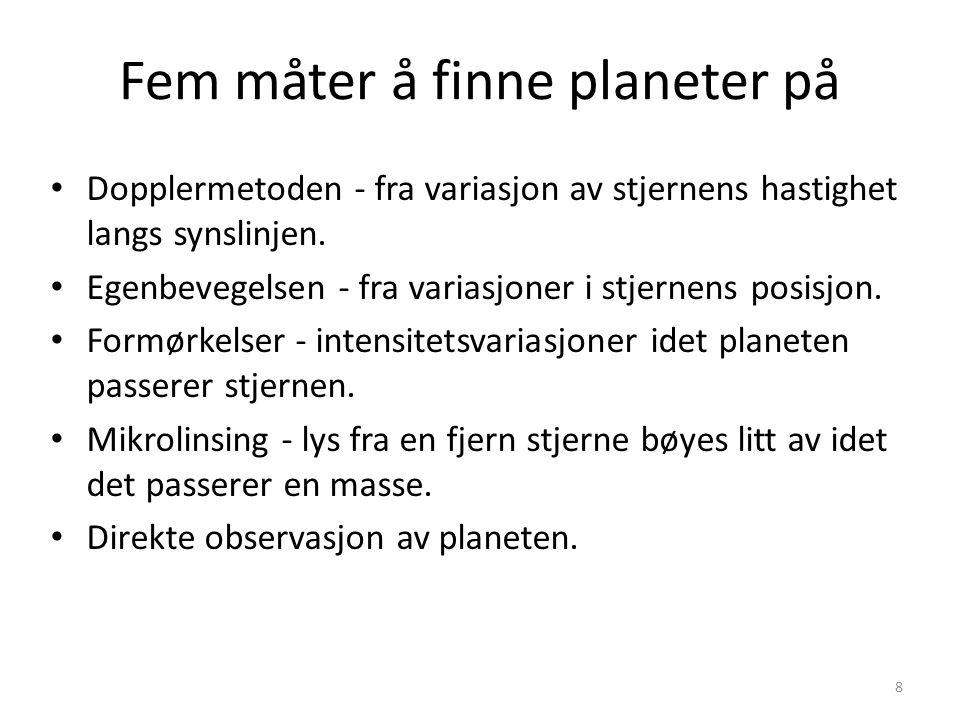 8 Fem måter å finne planeter på Dopplermetoden - fra variasjon av stjernens hastighet langs synslinjen. Egenbevegelsen - fra variasjoner i stjernens p