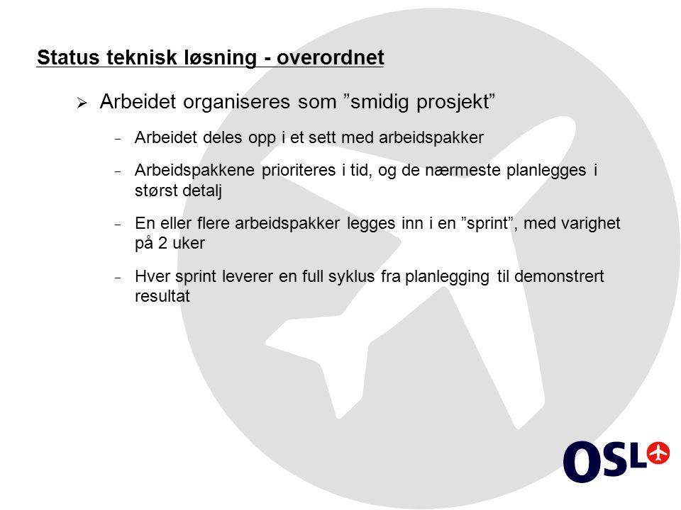 """Status teknisk løsning - overordnet  Arbeidet organiseres som """"smidig prosjekt""""  Arbeidet deles opp i et sett med arbeidspakker  Arbeidspakkene pri"""