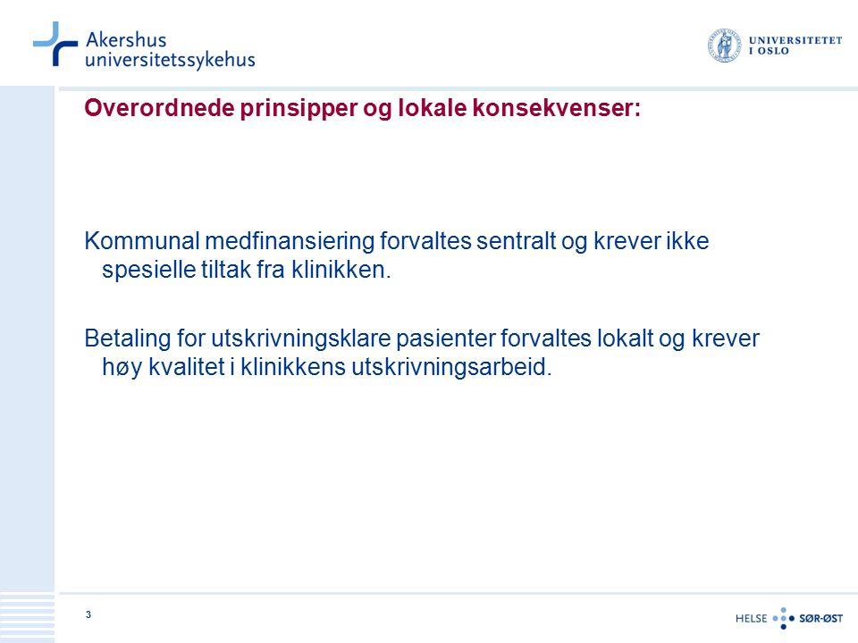 3 Overordnede prinsipper og lokale konsekvenser: Kommunal medfinansiering forvaltes sentralt og krever ikke spesielle tiltak fra klinikken.