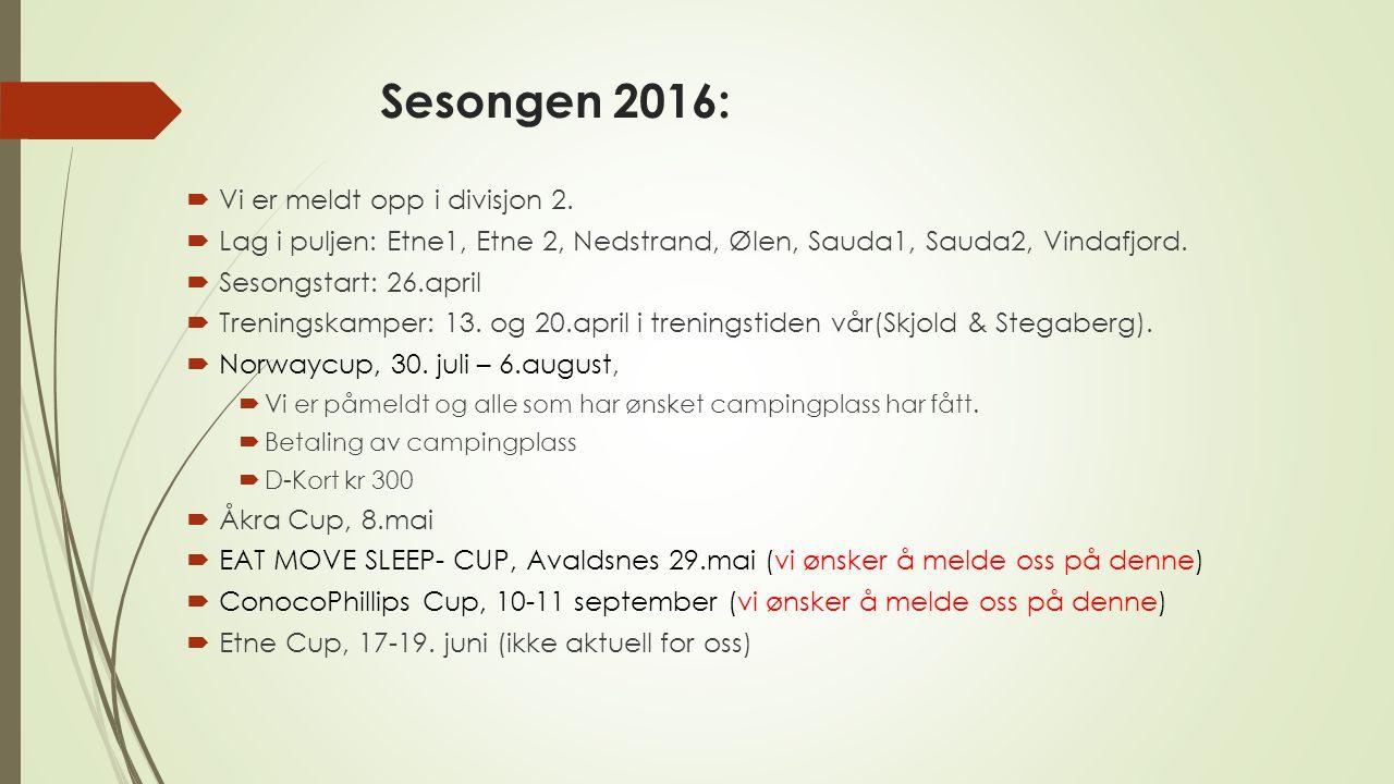 Sesongen 2016:  Vi er meldt opp i divisjon 2.  Lag i puljen: Etne1, Etne 2, Nedstrand, Ølen, Sauda1, Sauda2, Vindafjord.  Sesongstart: 26.april  T