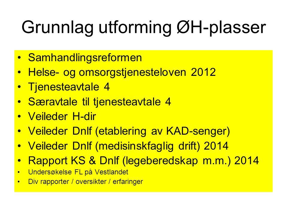 Grunnlag utforming ØH-plasser Samhandlingsreformen Helse- og omsorgstjenesteloven 2012 Tjenesteavtale 4 Særavtale til tjenesteavtale 4 Veileder H-dir