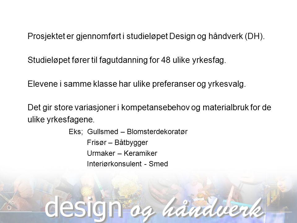 Prosjektet er gjennomført i studieløpet Design og håndverk (DH).