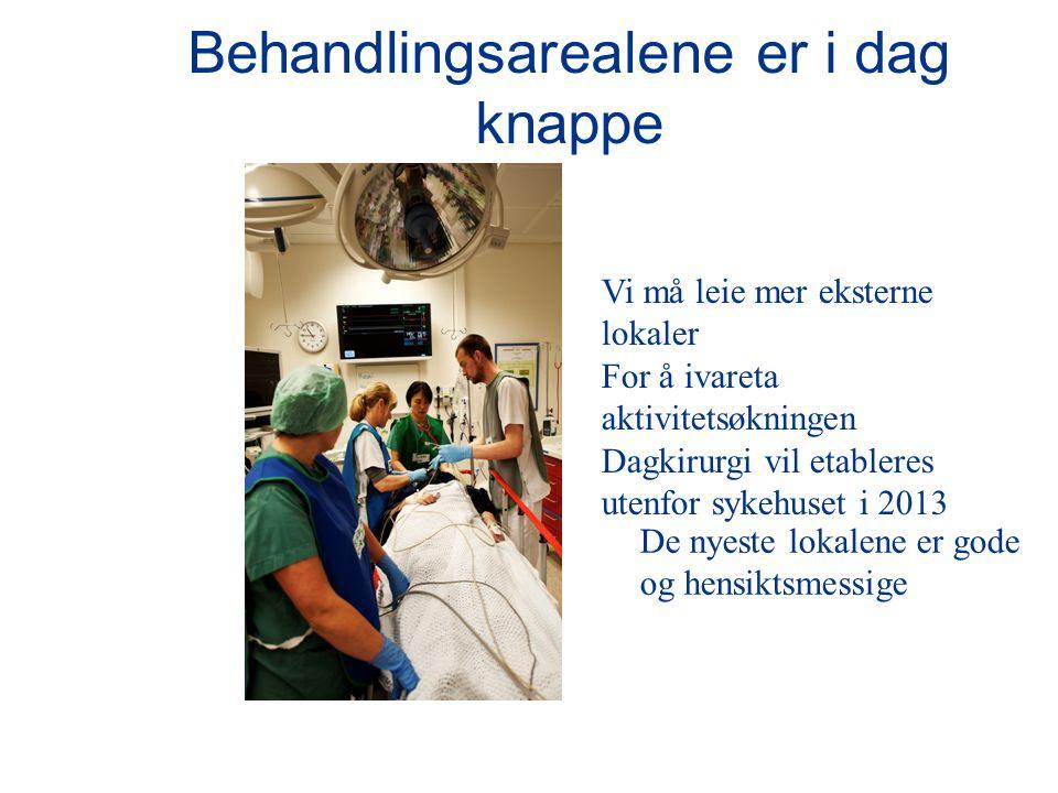 Behandlingsarealene er i dag knappe Vi må leie mer eksterne lokaler For å ivareta aktivitetsøkningen Dagkirurgi vil etableres utenfor sykehuset i 2013 De nyeste lokalene er gode og hensiktsmessige