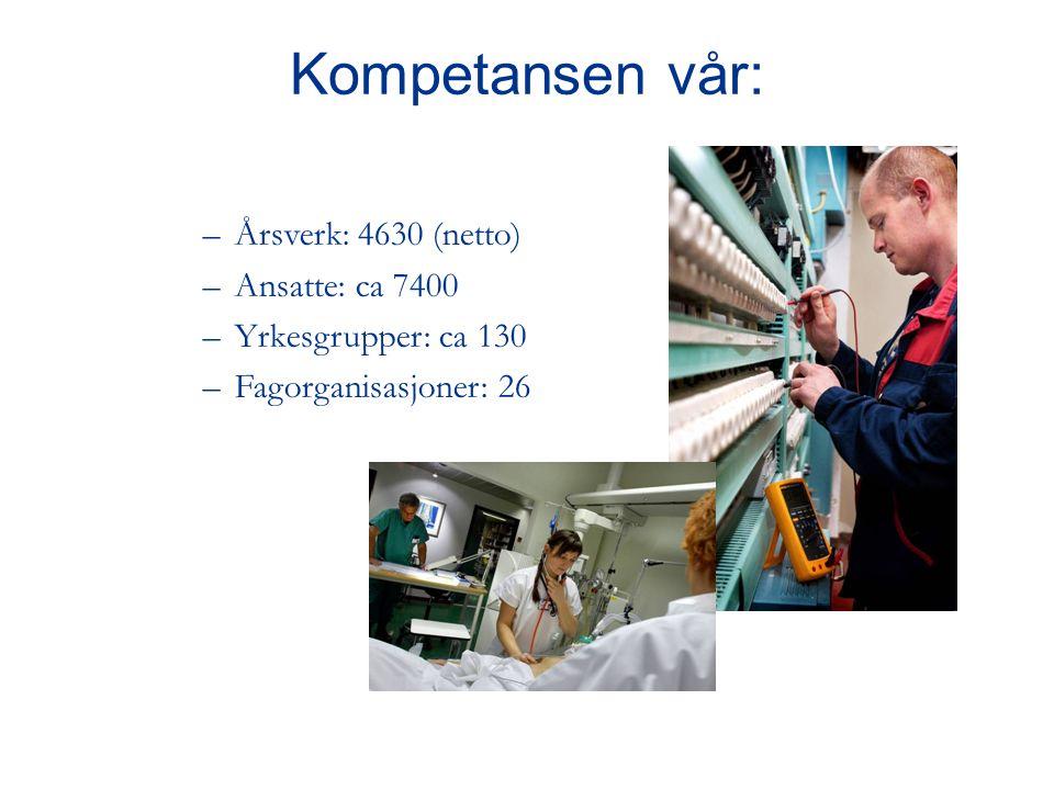 –Årsverk: 4630 (netto) –Ansatte: ca 7400 –Yrkesgrupper: ca 130 –Fagorganisasjoner: 26 Kompetansen vår: