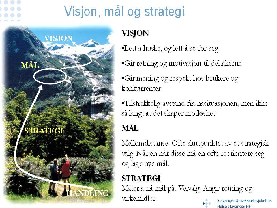 Styresak 056/10B Rullering av strategisk plan i Helse Stavanger HF Med utgangspunkt i utfordringsbildet er det definert tre satsingsområder med tilhørende delmål og tiltaksplaner.