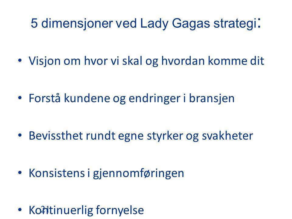 5 dimensjoner ved Lady Gagas strategi : Visjon om hvor vi skal og hvordan komme dit Forstå kundene og endringer i bransjen Bevissthet rundt egne styrker og svakheter Konsistens i gjennomføringen Kontinuerlig fornyelse 21