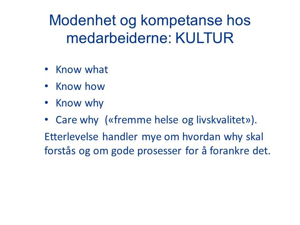 Modenhet og kompetanse hos medarbeiderne: KULTUR Know what Know how Know why Care why («fremme helse og livskvalitet»).