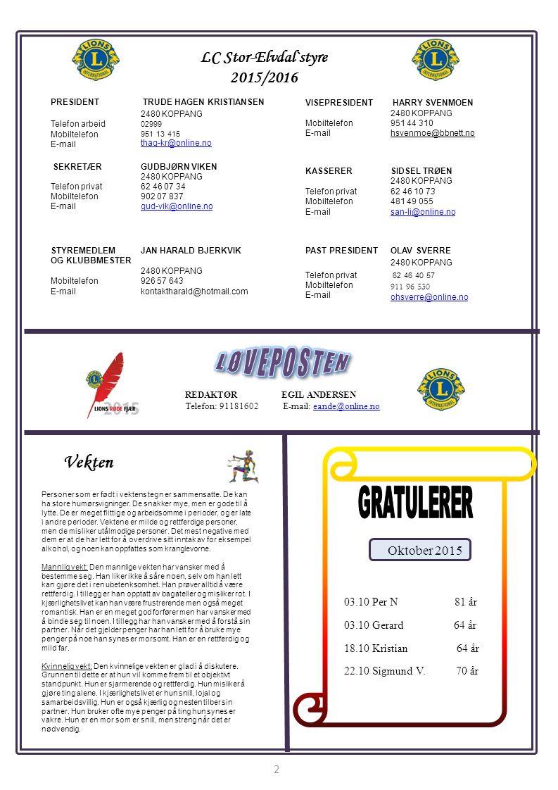 REDAKTØR EGIL ANDERSEN Telefon: 91181602 E-mail: eande@online.noeande@online.no LC Stor-Elvdal`styre 2015/2016 PRESIDENT TRUDE HAGEN KRISTIANSEN 2480 KOPPANG Telefon arbeid Mobiltelefon E-mail 02999 951 13 415 thag-kr@online.no VISEPRESIDENT HARRY SVENMOEN 2480 KOPPANG Mobiltelefon E-mail 951 44 310 hsvenmoe@bbnett.no SEKRETÆRGUDBJØRN VIKEN 2480 KOPPANG Telefon privat Mobiltelefon E-mail 62 46 07 34 902 07 837 gud-vik@online.no 2 KASSERER Telefon privat Mobiltelefon E-mail SIDSEL TRØEN 2480 KOPPANG 62 46 10 73 481 49 055 san-li@online.no STYREMEDLEM OG KLUBBMESTER Mobiltelefon E-mail JAN HARALD BJERKVIK 2480 KOPPANG 926 57 643 kontaktharald@hotmail.com PAST PRESIDENTOLAV SVERRE 2480 KOPPANG Telefon privat Mobiltelefon E-mail 62 46 40 57 911 96 530 ohsverre@online.no Oktober 2015 03.10 Per N 81 år 03.10 Gerard 64 år 18.10 Kristian 64 år 22.10 Sigmund V.