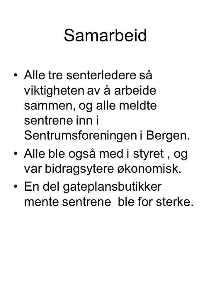 Samarbeid Alle tre senterledere så viktigheten av å arbeide sammen, og alle meldte sentrene inn i Sentrumsforeningen i Bergen.
