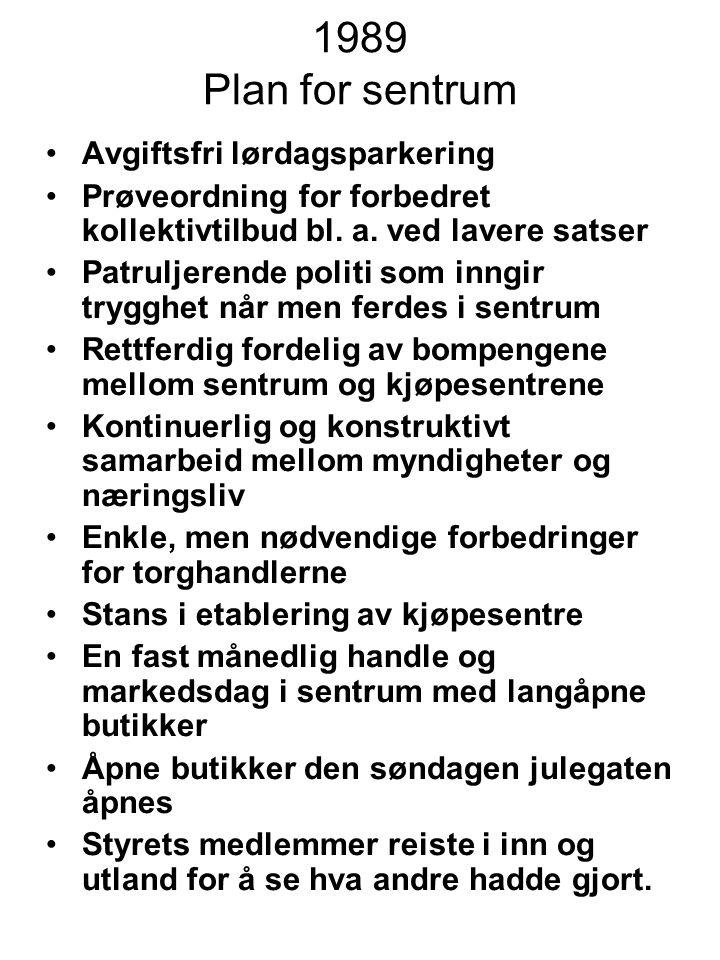 1989 Plan for sentrum Avgiftsfri lørdagsparkering Prøveordning for forbedret kollektivtilbud bl.