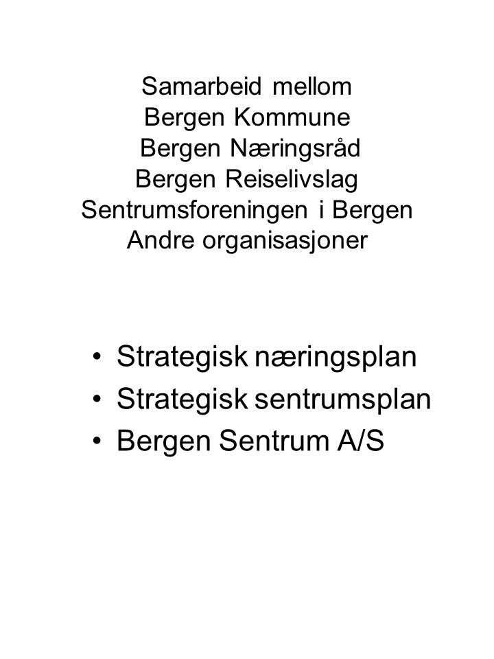 Samarbeid mellom Bergen Kommune Bergen Næringsråd Bergen Reiselivslag Sentrumsforeningen i Bergen Andre organisasjoner Strategisk næringsplan Strategisk sentrumsplan Bergen Sentrum A/S